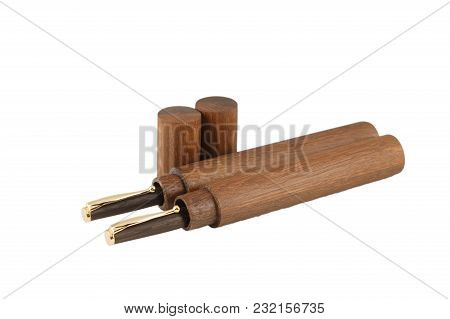Wooden Ball Pen With A Tube For Storage On A White Background.