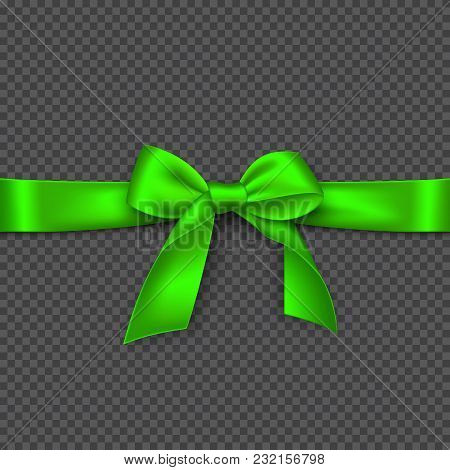Realistic Bright Green Bow And Ribbon. Element For Decoration Gifts, Greetings, Holidays. Vector Ill