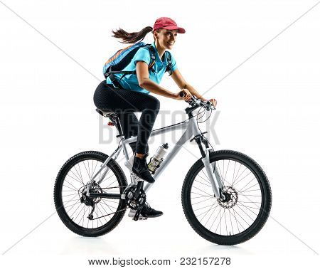 Cyclist In Blue T-shirt Riding The Bike In Silhouette On White Background. Dynamic Movement. Sport A