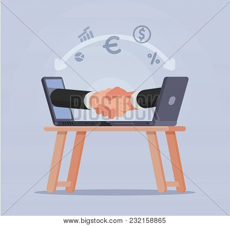 Handshake Of Businessmen From Screens Laptop Vector Illustration. Secure Transactions In The Network