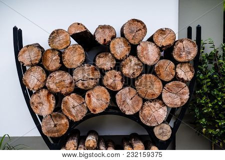 Wooden Logs Stacked Up To Become Firewood, Cunha, Sao Paulo