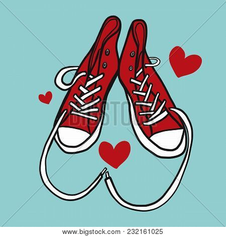 Love Red Sneaker Shoe Cartoon Vector Illustration