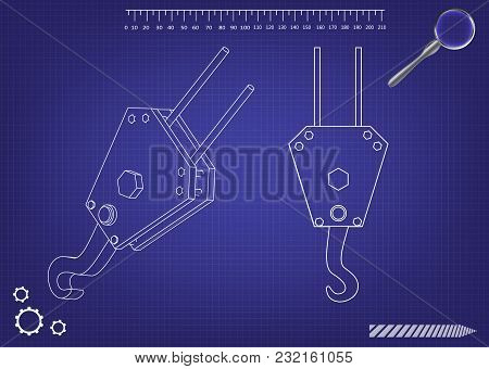 3d Model Of A Crane Hook On A Blue Background. Drawing