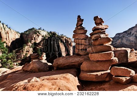 Rock Pyramid Balancing On The Top Of Mountains In Zion National Park, Usa