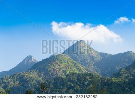 Blue Landscape Green Mountains