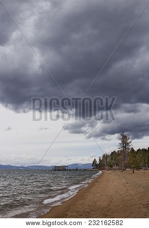 Nevada Beach Campgrounds Lake Shore With Dark Clouds In South Lake Tahoe Nevada, U.s.a.