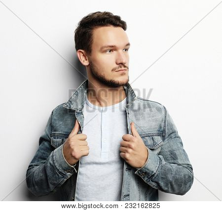 Portrait of sexy man over white  background