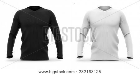 Men's v neck t shirt with long sleeves. Front view. 3d rendering. Clipping paths included: whole object, sleeve, collar. Highlights and shadows template mock-up.