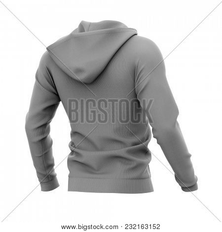 Men's zip-up hoodie. Sweatshirt with pockets. Half-back view. 3d rendering. Clipping paths included: whole object, hood, sleeves. Isolated on white background.