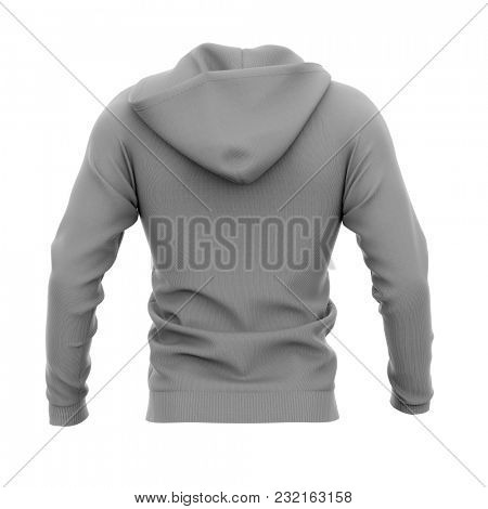Men's zip-up hoodie. Sweatshirt with pockets. Back view. 3d rendering. Clipping paths included: whole object, hood, sleeves. Isolated on white background.