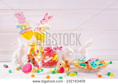 Colorful sweets on a white background