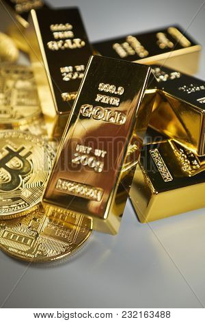 Golden Bitcoin Coin and gold. Bitcoin cryptocurrency. Business concept.