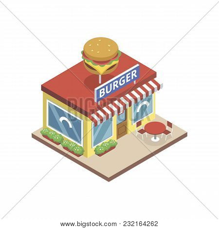 Isometric View Of Bistro With Burger Sign Building Isolated On White.