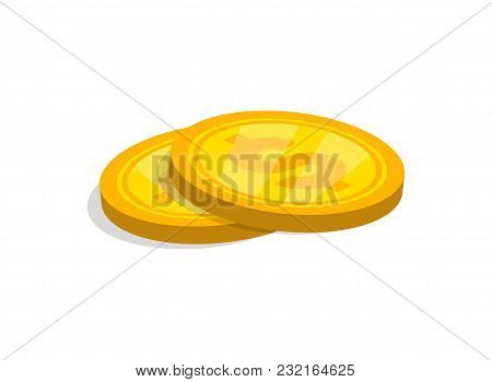 Close-up Of Two Stacked Dollar Golden Coins On White Background.