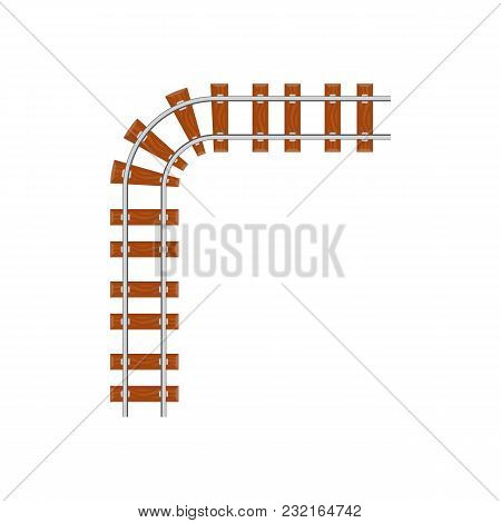 From Above Angle Turning Railway From Above On White Background.