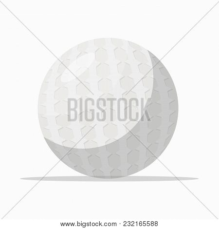 White Colored Textured Ball For Golf Playing On White Background.