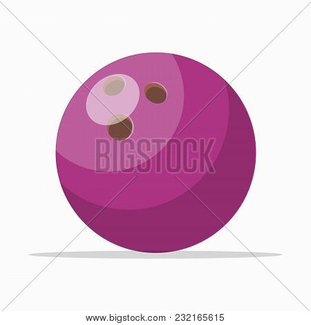 Purple Colored Ball With Holes For Bowling Game Isolated On White.