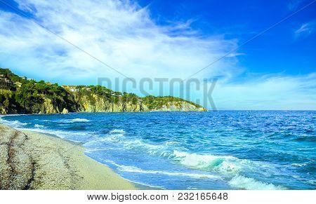 Elba Island, Portoferraio Le Ghiaie Beach Coast. Tuscany, Italy, Europe. Long Exposure.