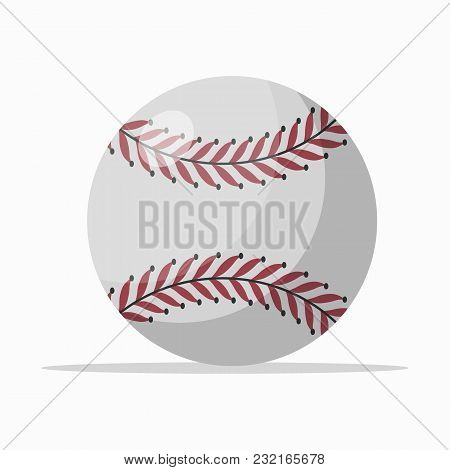 White Leather Ball With Red Seam For Baseball Game On White Background.