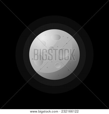 Flat Design Of Gray Satellite Of Moon On Black Background.