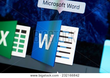New York, Usa - August 18, 2017: Microsoft Office Word Icon Close-up On Laptop Screen. Starting Word