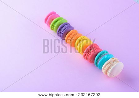 Colorful Macarons Or Macaroons Dessert Sweet Beautiful To Eat