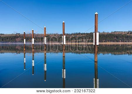 Calm Lake Landscape Photo By The Public Docks In Harrison, Idaho.