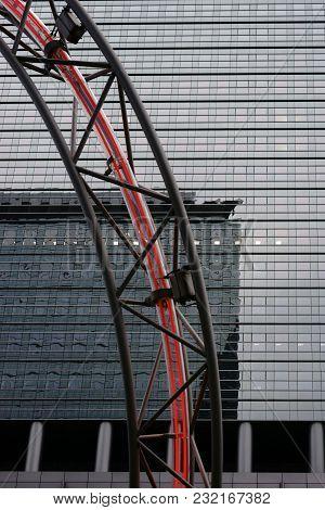 Frankfurt, Germany - March 02: A Detail Of The Light Sculpture By The Swiss Artist Christian Herdeg