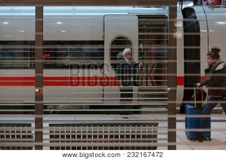 Frankfurt, Germany - December 31: A Long-distance Train Is Standing At The Station Frankfurt Main Ai