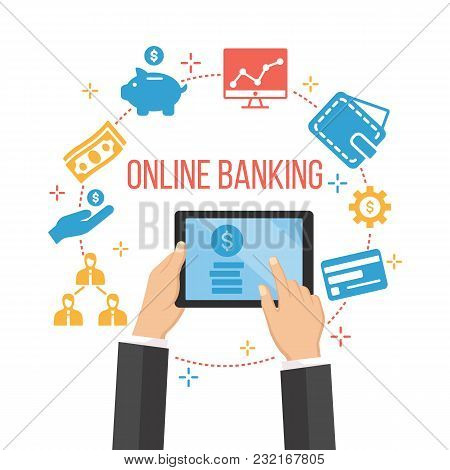 Modern Online Banking. E-commerce Orders Via Internet. Person With Laptop Searching Ways Of Increasi