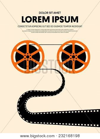Movie And Film Modern Retro Vintage Poster Background. Design Element Template Can Be Used For Backd