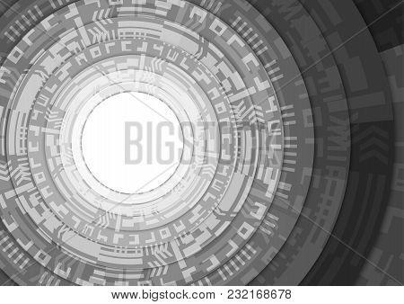 Black And White Stack Circle Teachnology Background Vector Illustration