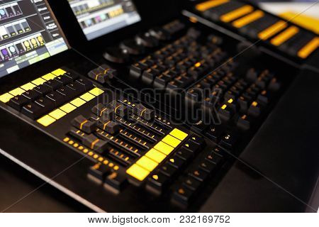Closeup Of Lighting Desk Used In Lighting Design To Control Stage Lights. Selective Focus.