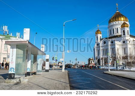 Moscow, Russia - March, 09, 2018: bus station near temple of Christ the Savior in Moscow
