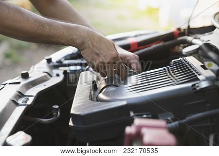 Technician Check The Engine Daily, Maintenance And Repair Concept