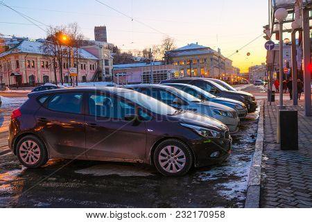 Nizhny Novgorod, Russia - March, 10, 2018: car on the parking in Nizhny Novgorod in winter at sunset