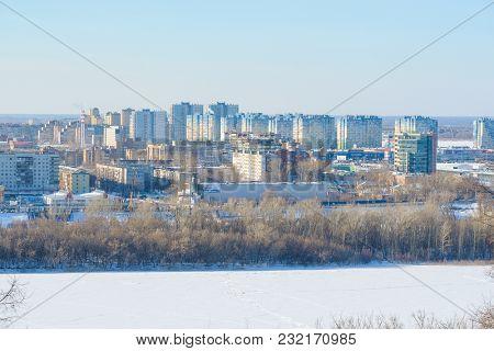 Nizhny Novgorod, Russia - March, 10, 2018: landscape with the image of Volga embankment in Nizhny Novgorod in winter