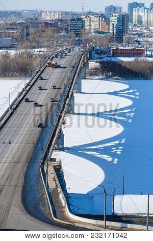 Nizhny Novgorod, Russia - March, 10, 2018: landscape with the image of bridge over Volga in Nizhny Novgorod in winter