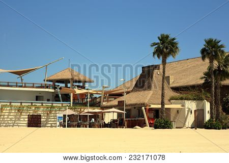 Banana Island, Doha - March 14, 2018: The beach cafe on Qatar's Banana Island beach resort