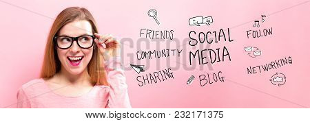 Social Media With Happy Young Woman Holding Her Glasses