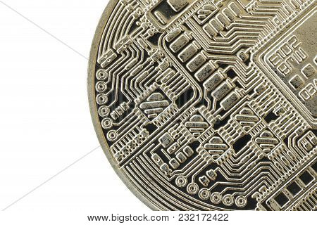 Bitcoin Currency Of Silver Medal Isolated On White Background And Have Clipping Paths To Ease Of Use