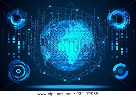 Abstract Technology Global Network Connection Futuristic Connection Hi Tech Background.vector Illust