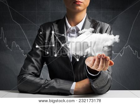 Businessman In Suit Keeping Cloud With Network Connections In Hands With Business Sketches On Backgr