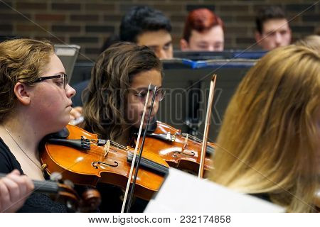 Romeoville, Illinois / United States - May 22, 2016: Violinists Of The Metropolitan Youth Symphony O