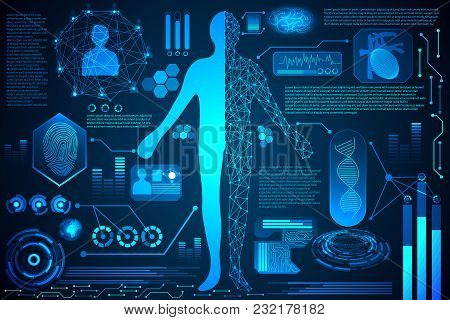 Abstract Technology Ui Futuristic Hud Interface Hologram Elements Human Body Digital Health Care Fut