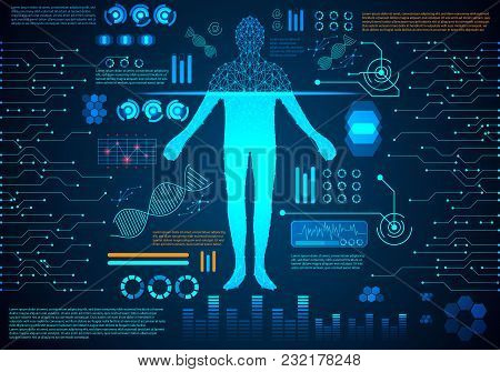 Abstract Technology Ui Futuristic Hud Interface Hologram Elements Of Human Body Digital Health Care