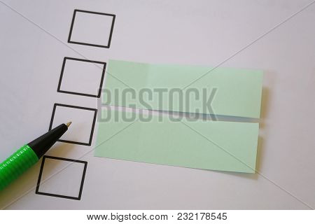 Green Pen Pointing Empty Checkbox And Have Blank Paper Note For Design Ideas For Presenting In Your