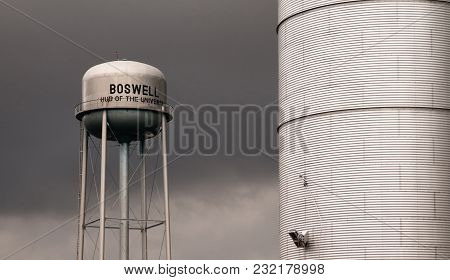 Storm Rolls Over The Town Utility And Agriculture Infrastructure In The Midwest At Boswell Indiana