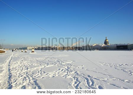 Winter Day At The University Embankment In St. Petersburg