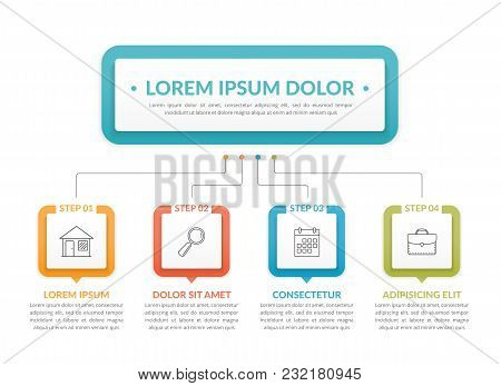 Infographic Template With Main Idea And 4 Steps Or Options, Workflow, Process Chart, Vector Eps10 Il